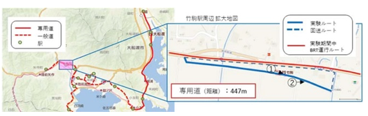 © JREast. Pilot of Automatic BRT operation on Ofunato BRT Line in Japan - Route
